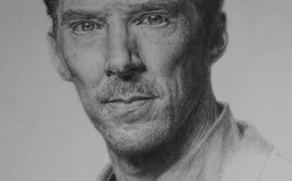portrait au crayon pitt oil de benedict cumberbatch