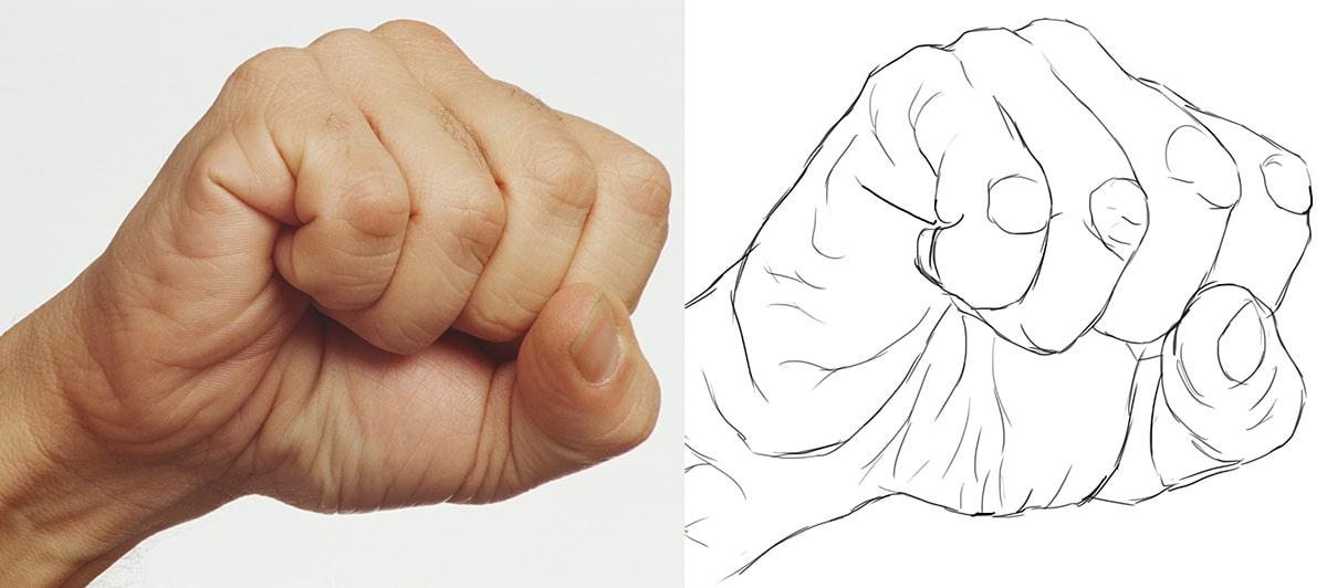 Comment dessiner la main ? le point