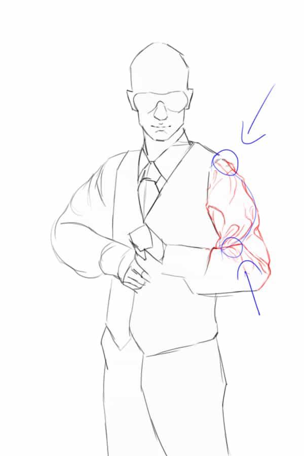 comment dessiner les vêtements? pli de cylindre
