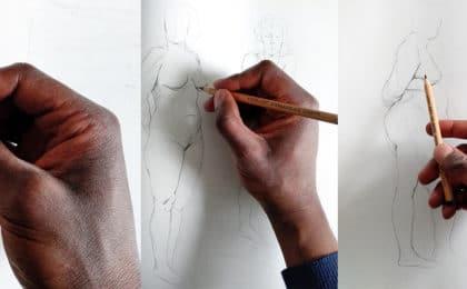 trois main qui tiennent un crayon pitt oil de la marque faber-castell. dessin sur carnet de croquis. article: comment bien tenir sont crayon en dessin.