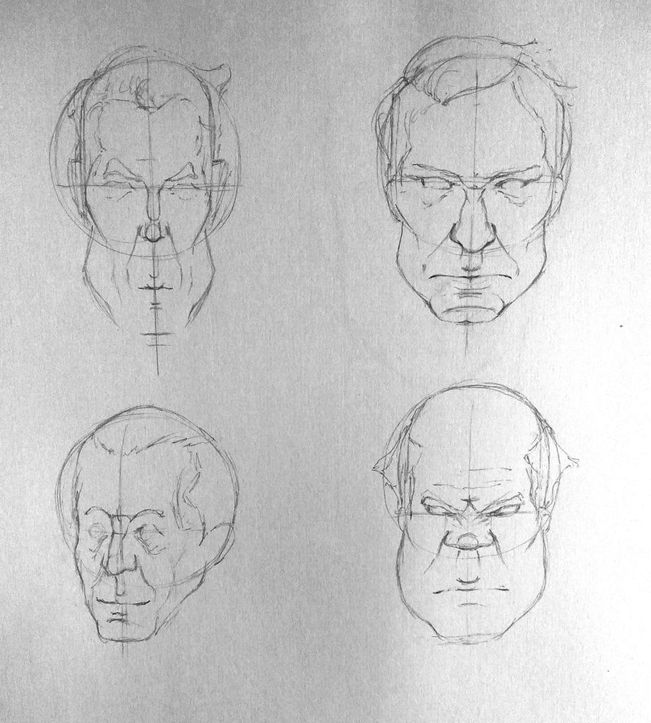 Comment dessiner différents type de visage dessin de caricature, dessin de portrait avec des différents type de visages. https://artcademyatelier.fr/comment-dessiner-un-visage-de-face/ petite bouche, grandes bouche, grosse tête, fine tête. dessin de croquis, dessin de visage.