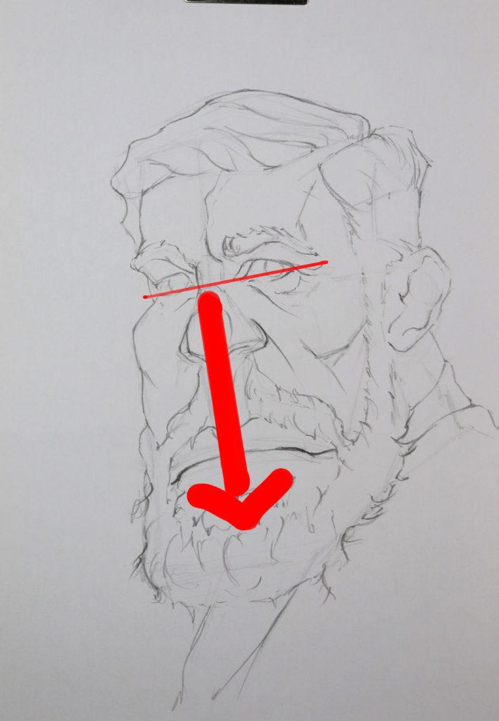 Le déséquilibre de la masse en dessous des yeux. dessin de portrait au crayon
